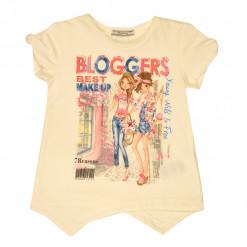 """Άσπρη μπλούζα κοντομάνικη """"Bloggers"""""""