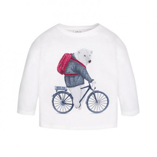 """Άσπρη μπλούζα μακρυμάνικη """"Ακρούδα σε Ποδήλατο"""""""