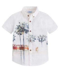 """Άσπρο πουκάμισο κοντομάνικο με κουμπιά """"Διακοπές"""""""