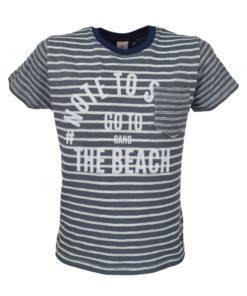 """Γκρι μπλούζα κοντομάνικη ριγέ """"The Beach"""""""
