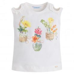 """Εκρού μπλούζα αμάνικη """"Βάζα με Λουλούδια"""""""