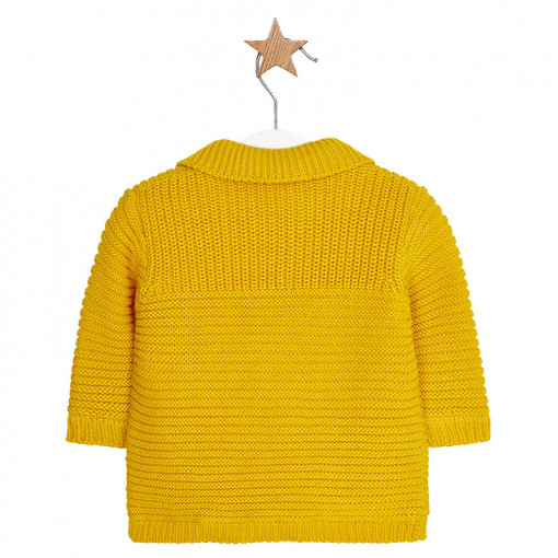 Ζακέτα κίτρινη πλεκτή με τσέπες πίσω μέρος