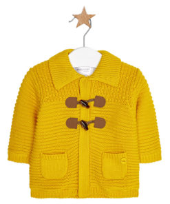Ζακέτα κίτρινη πλεκτή με τσέπες