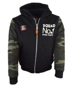 """Ζακέτα μαύρη με μανίκια παραλλαγής """"Squad"""""""