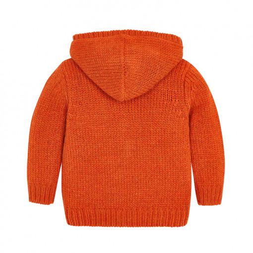 Ζακέτα πλεκτή πορτοκαλί με κουκούλα και τσέπες πίσω μέρος