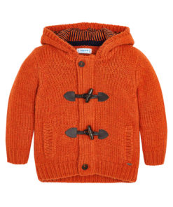 Ζακέτα πλεκτή πορτοκαλί με κουκούλα και τσέπες
