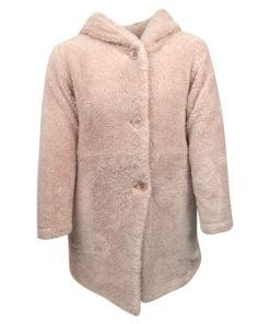 Ζακέτα ροζ μακριά γούνινη με κουκούλα