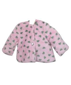 """Ζακέτα ροζ με κουκούλα και κουμπιά """"Καρδούλες"""""""