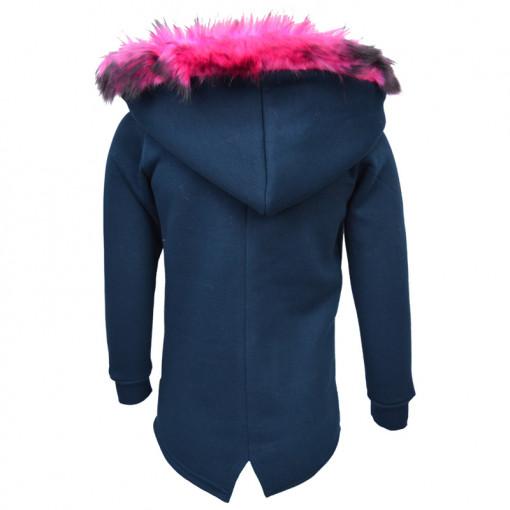 """Ζακέτα σξολυρη μπλε με γούνα στην κουκούλα και τσέπες """"Joyce"""" πίσω μέρος"""
