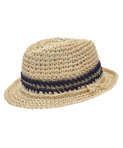 Καπέλο μπεζ ψάθινο με λούρεξ