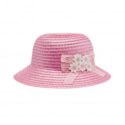 """Καπέλο ροζ ψάθινο """"Λουλουδάκια"""""""