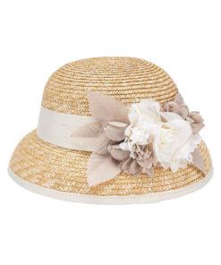 """Καπέλο ψάθινο μπεζ """"Λουλούδια"""""""