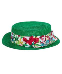 """Καπέλο ψάθινο πράσινο """"Φιόγκος Floral"""""""