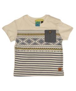 Κοντομάνικη ριγέ μπλούζα με τζιν τσέπη