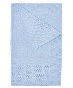 Κουβέρτα γαλάζια αγκαλιάς πλεκτή διάτρητη διπλωμένη
