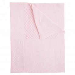 Κουβέρτα ροζ αγκαλιάς πλεκτή διάτρητη διπλωμένη