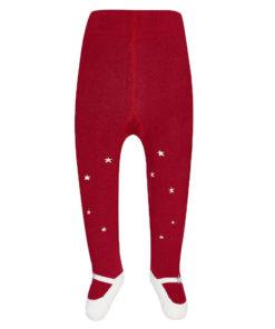 Κόκκινο καλσόν χοντρό με σχέδιο παπουτσάκια