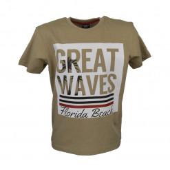 """Μπεζ μπλούζα κοντομάνικη """"Great Waves"""""""