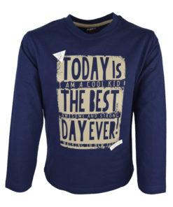 """Μπλε μπλούζα μακρυμάνικη Today is """"The Best Day Ever!"""""""