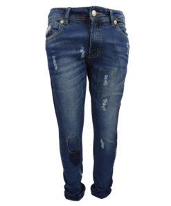 Μπλε παντελόνι τζιν με σκισίματα και ξεβάμματα
