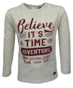 """Μπλούζα γκρι ανοιχτό μακρυμάνικη """"Believe it's Time For Adventure"""""""