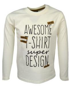 """Μπλούζα εκρού μακρυμάνικη """"Awesome T-Shirt"""""""