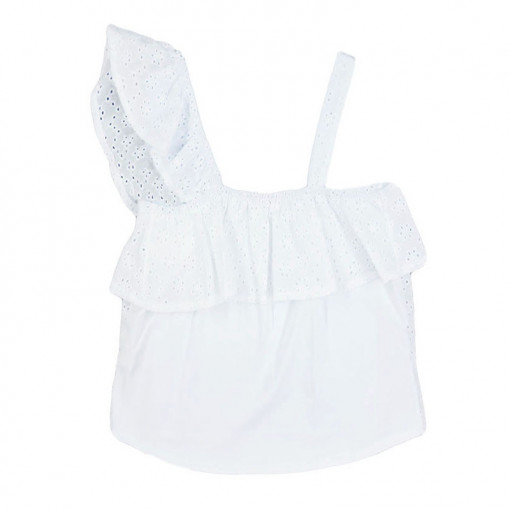 Μπλούζα κοντομάνικη διάτρητη λευκή