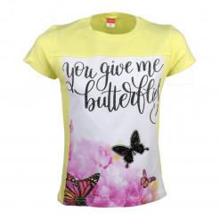 """Μπλούζα κοντομάνικη κίτρινη """"You Give me Butterflies"""""""