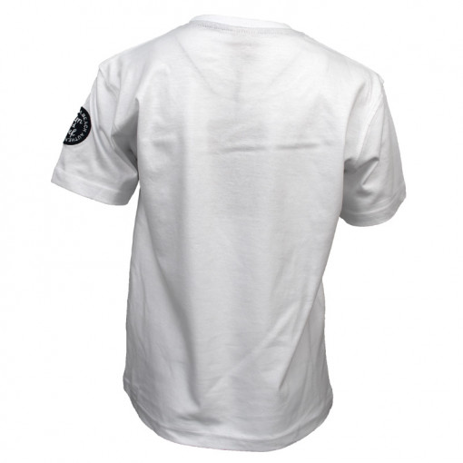 """Μπλούζα κοντομάνικη λευκή με τσέπη """"Waves"""" πίσω μέρος"""