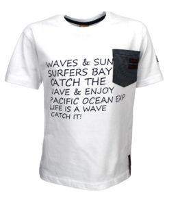 """Μπλούζα κοντομάνικη λευκή με τσέπη """"Waves"""""""