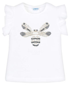 """Μπλούζα κοντομάνικη λευκή """"Μέλισσα"""""""