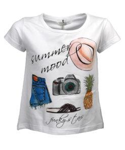 """Μπλούζα κοντομάνικη λευκή """"Summer Mood"""""""