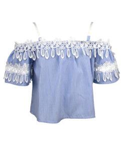 """Μπλούζα κοντομάνικη ριγέ γαλάζια με τιραντάκι """"Λουλούδια"""""""