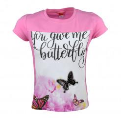 """Μπλούζα κοντομάνικη ροζ με πεταλούδες """"You Give Me Butterflies"""""""
