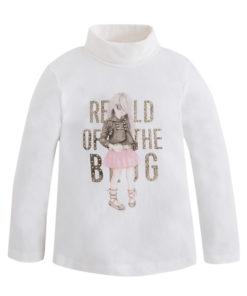 """Μπλούζα λευκή μακρυμάνικη με ζιβάγκο """"Of The Blog"""""""
