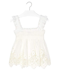 Μπλούζα λευκή με χοντρές τιράντες και κέντημα στο τελείωμα