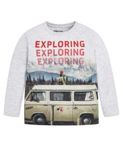 """Μπλούζα μακρυμάνικη λευκή """"Exploring"""""""