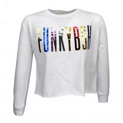 """Μπλούζα μακρυμάνικη λευκή """"Funky BDH"""""""