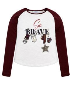 """Μπλούζα μακρυμάνικη λευκή """"So Brave"""""""