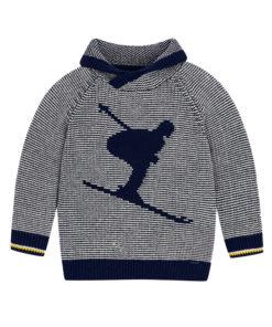 """Μπλούζα μακρυμάνικη πλεκτή γκρι με γυριστό γιακά """"Skier"""""""