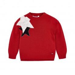 """Μπλούζα μακρυμάνικη πλεκτή κόκκινη """"Αστέρια"""""""