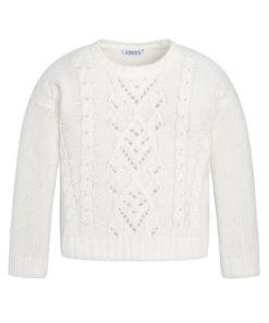 Μπλούζα μακρυμάνικη πλεκτή λευκή με διάτρητα σχέδια