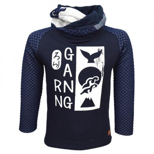 """Μπλούζα μακρυμάνικη σκούρη μπλε με φαρδύ γιακά """"Gang"""""""
