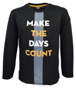 """Μπλούζα μαύρη μακρυμάνικη """"Make the Days Count"""""""