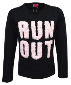 """Μπλούζα μαύρη μακρυμάνικη """"Run Out"""""""