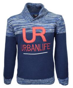 """Μπλούζα μπλε σκούρα μακρυμάνικη πλεκτή """"Urbanlife"""""""