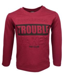 """Μπλούζα μπορντό μακρυμάνικη """"Trouble"""""""