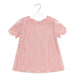 Μπλούζα ροζ κοντομάνικη μακρία με δαντέλα πίσω μέρος