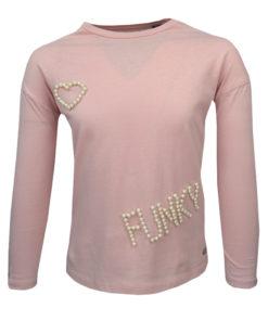 """Μπλούζα ροζ μακρυμάνικη με στάμπα από πέρλες """"Funky"""""""