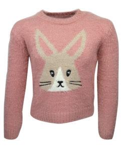 """Μπλούζα ροζ μακρυμάνικη πλεκτή """"Γάτα"""""""